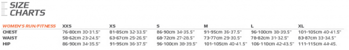 2XU size chart Womens run