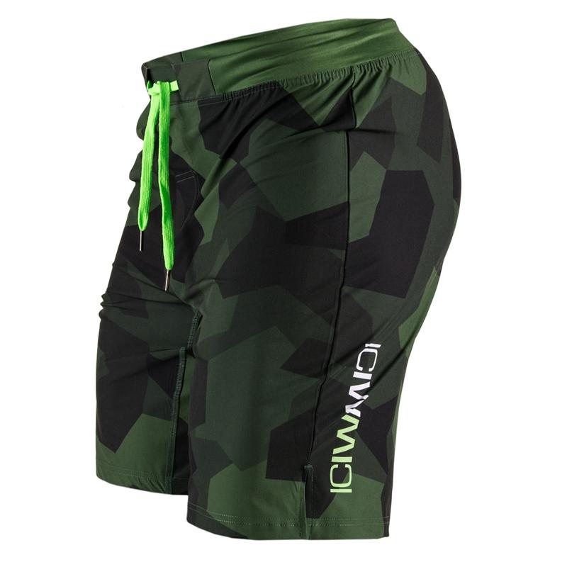 Icaniwill Dark Green/Green Camo Shorts Men S