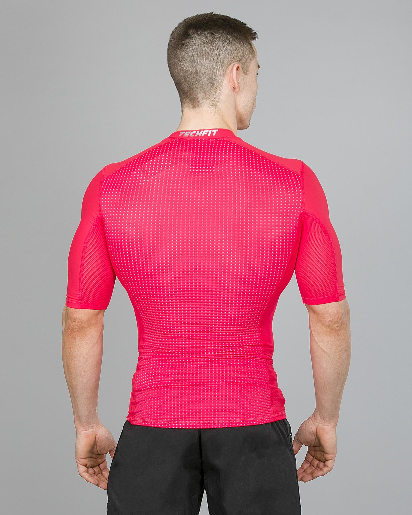 Adidas Mens Techfit Chill Short Sleeve Tee Red Tights.no