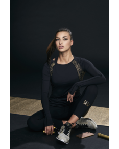 Ellesport Sleek Long Sleeved Performance Top – Black/Gold