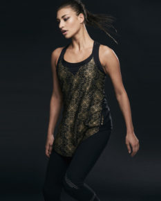 Ellesport Printed Semi Sheer Layering Tank - Black/Gold