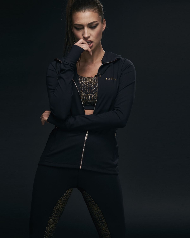 Ellesport Sleek Energising Sports Jacket with Hood – Black/Gold