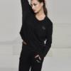 Ellesport Long Sleeve Rib and Viscose Top – Black