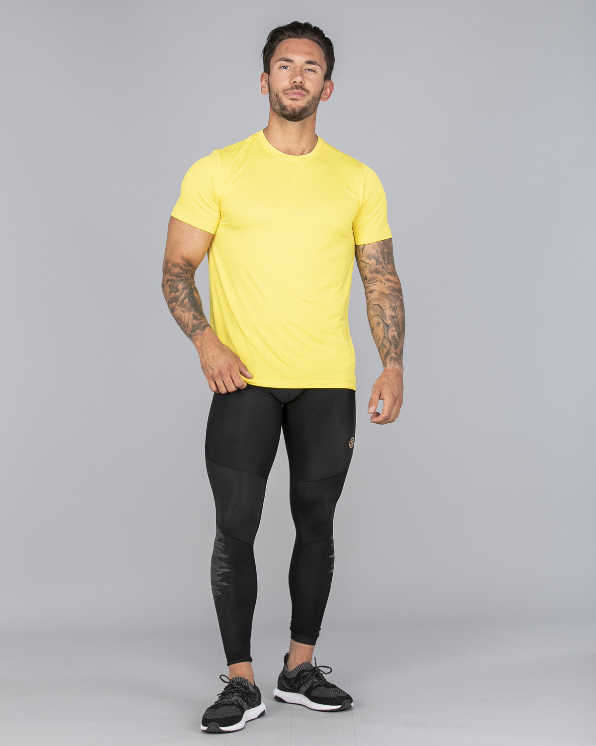 Skins Activewear Avatar Mens Round Neck Short Sleeve Tee CitronMarle (6)