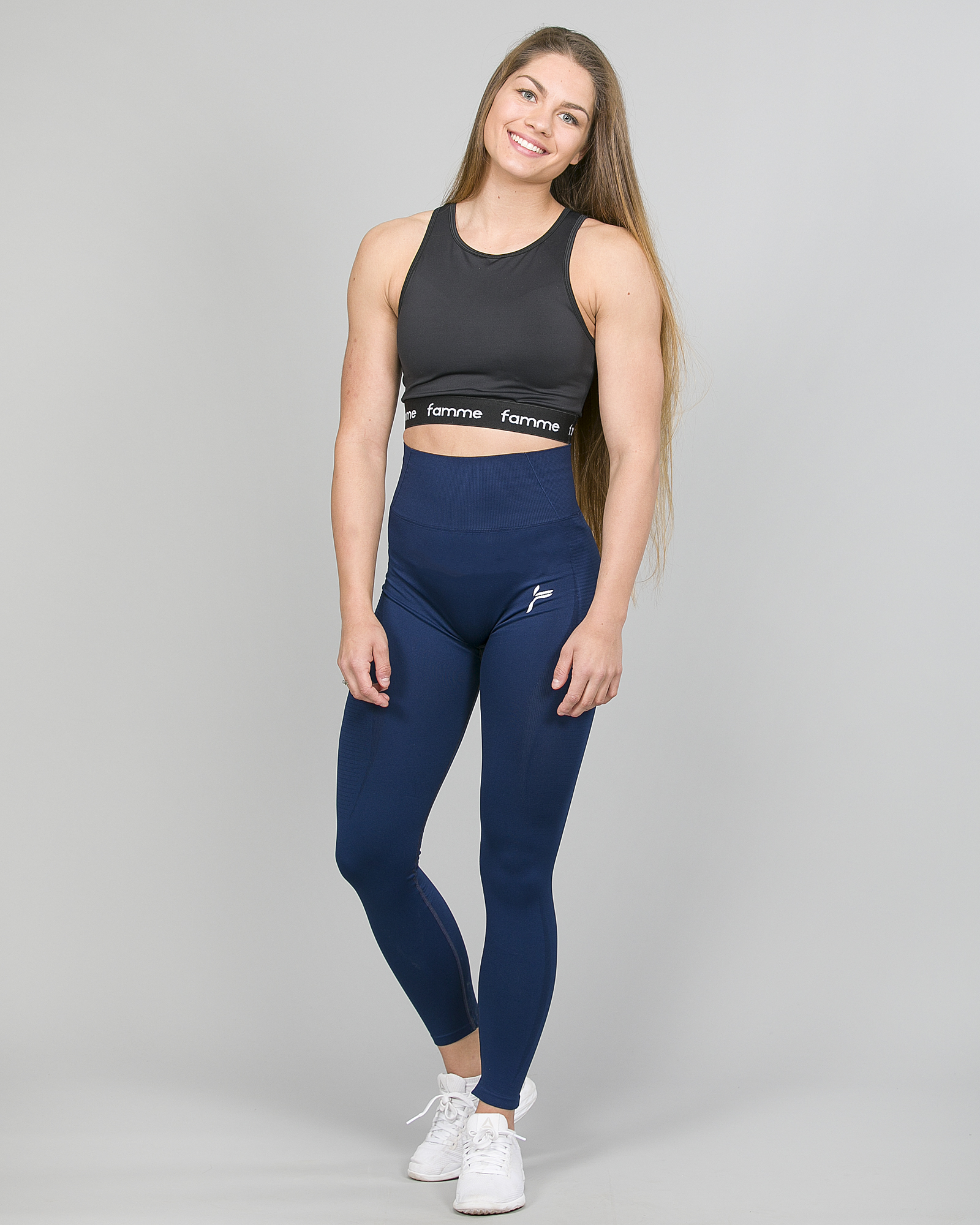 Famme Vortex Legging - Navy Blue vhwl-nv and Famme Crop Top - Black bct-bk