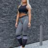 Famme Stripe Melange Leggings – Melange Grey