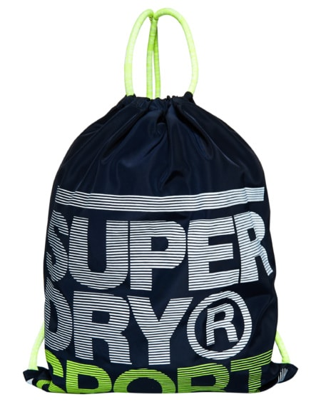 Superdry Drawstring Bag - Navy/Fluro Lime