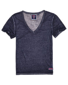 Superdry Burnout Vee Tee - Dark Pebble Grey