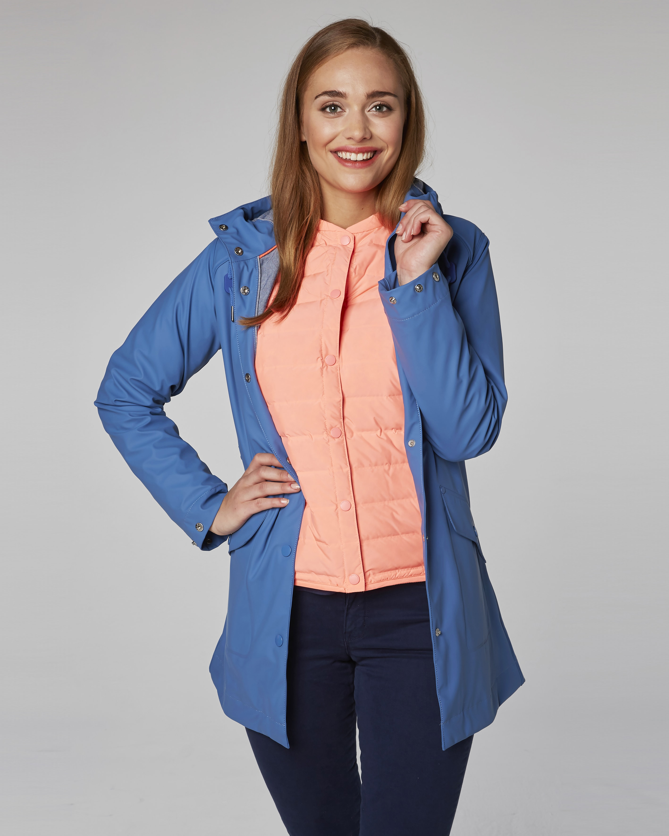 Helly Hansen W Kirkwall Rain Coat - Stone Blue