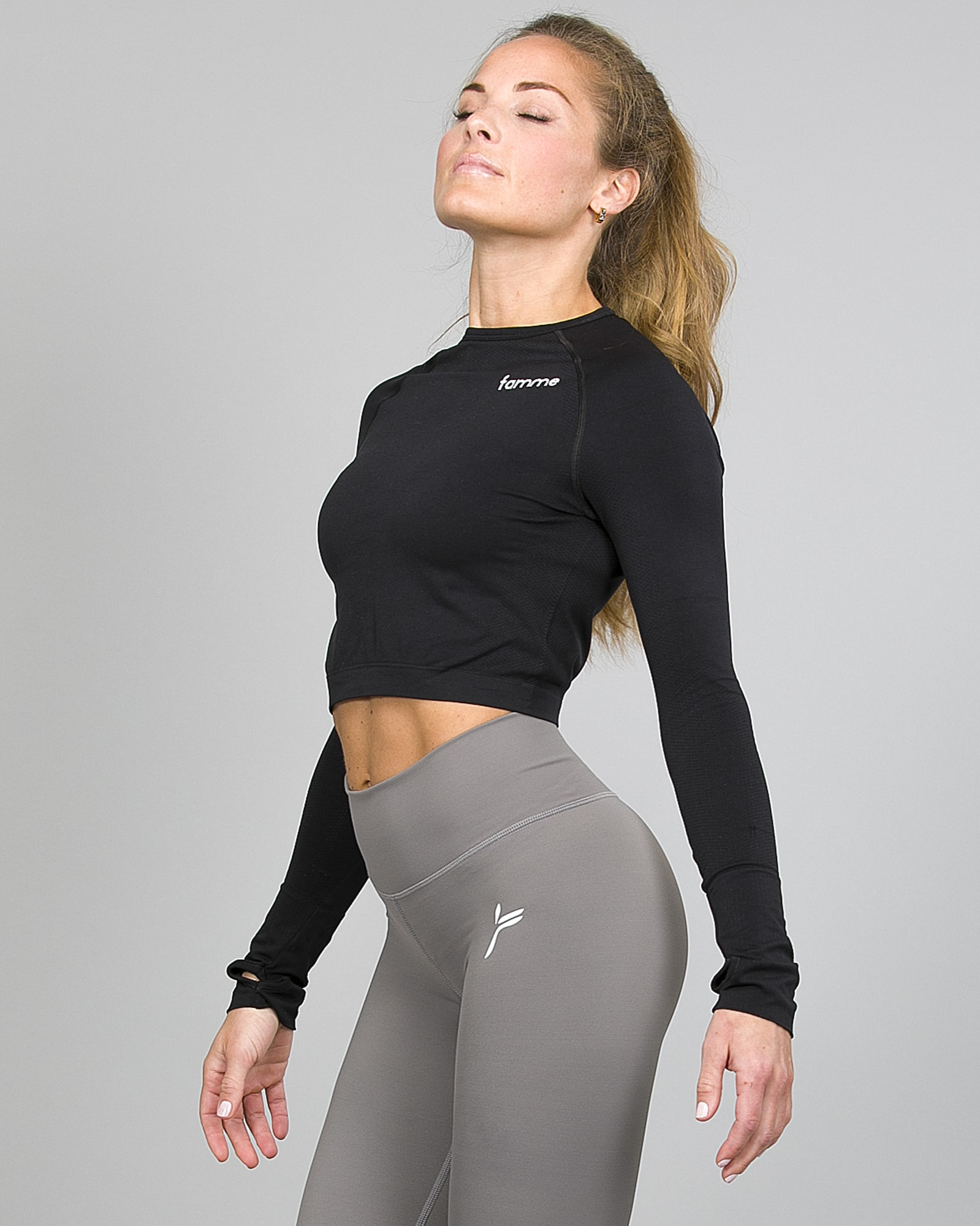 amme Ocean Crop Top Black ocls-bk and Essential High Waist Legging - Grey ehwt-gr c