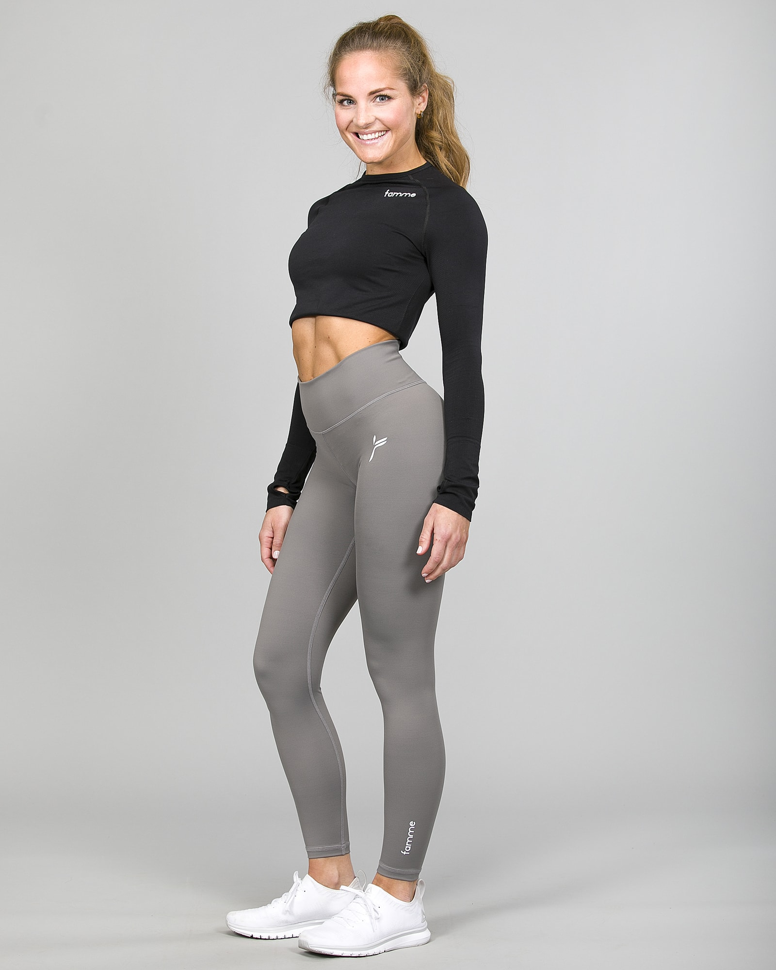 Famme Ocean Crop Top Black ocls-bk and Essential High Waist Legging - Grey ehwt-gr d