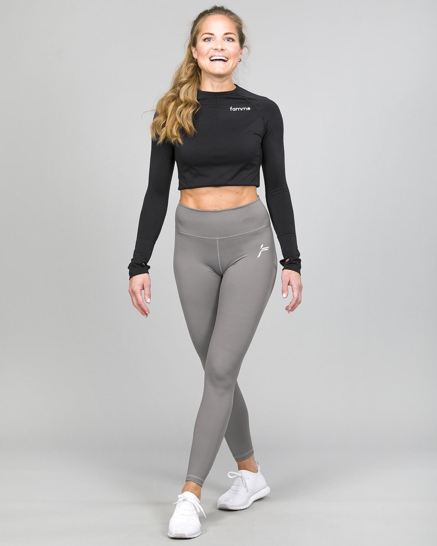 Famme Ocean Crop Top Black ocls-bk and Essential High Waist Legging - Grey ehwt-gr i