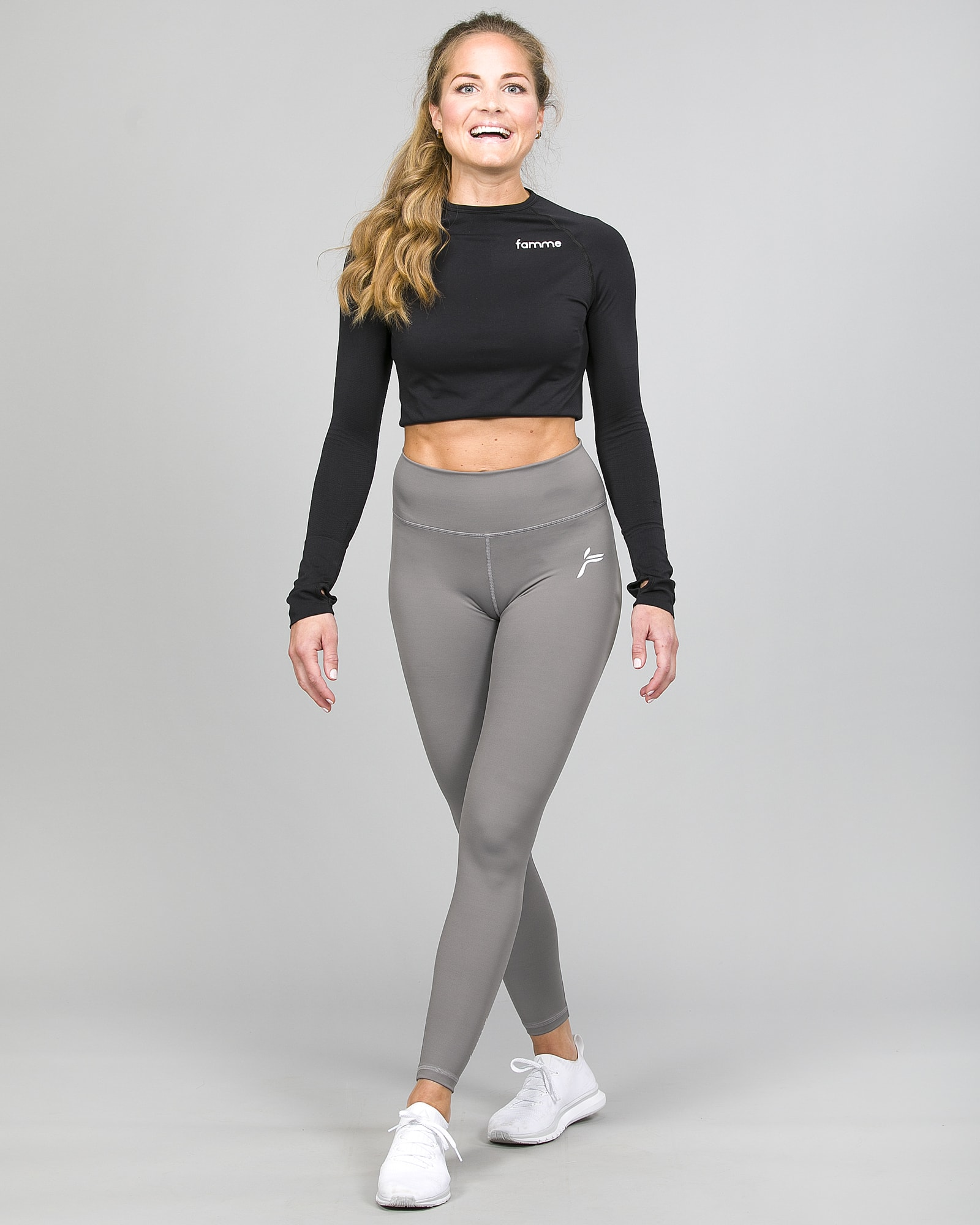 Famme Ocean Crop Top Black ocls-bk and Essential High Waist Legging - Grey ehwt-gr i