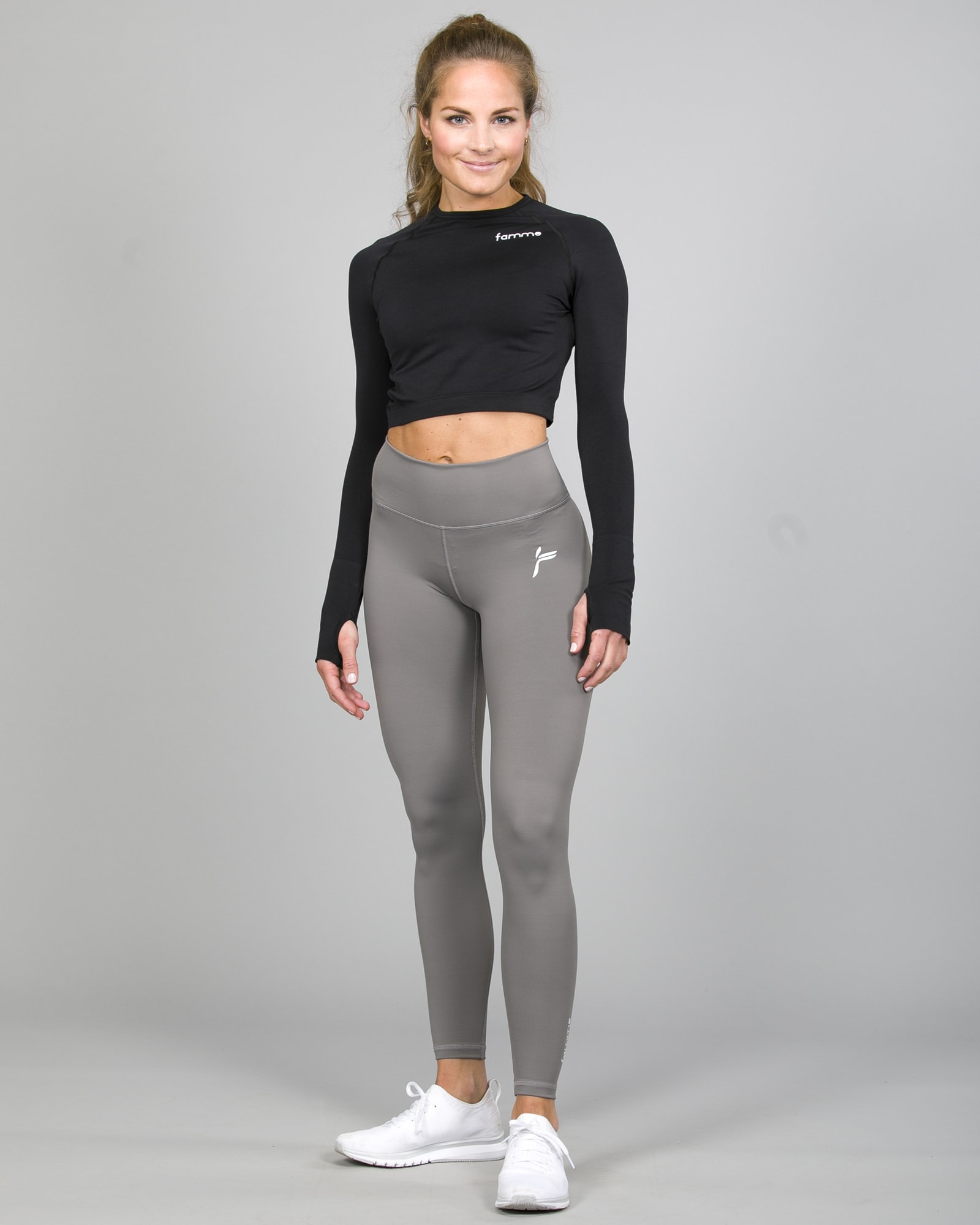 Famme Ocean Crop Top Black ocls-bk and Essential High Waist Legging - Grey ehwt-gr