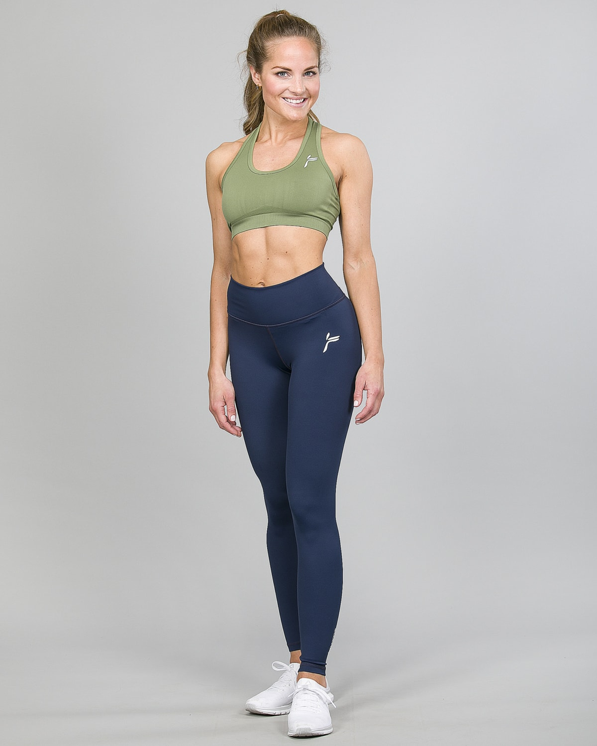 Famme Essential High Waist Legging – Midnight Blue ehwt-mb and Drop It Sports Bra Army Green vhwl-ag d