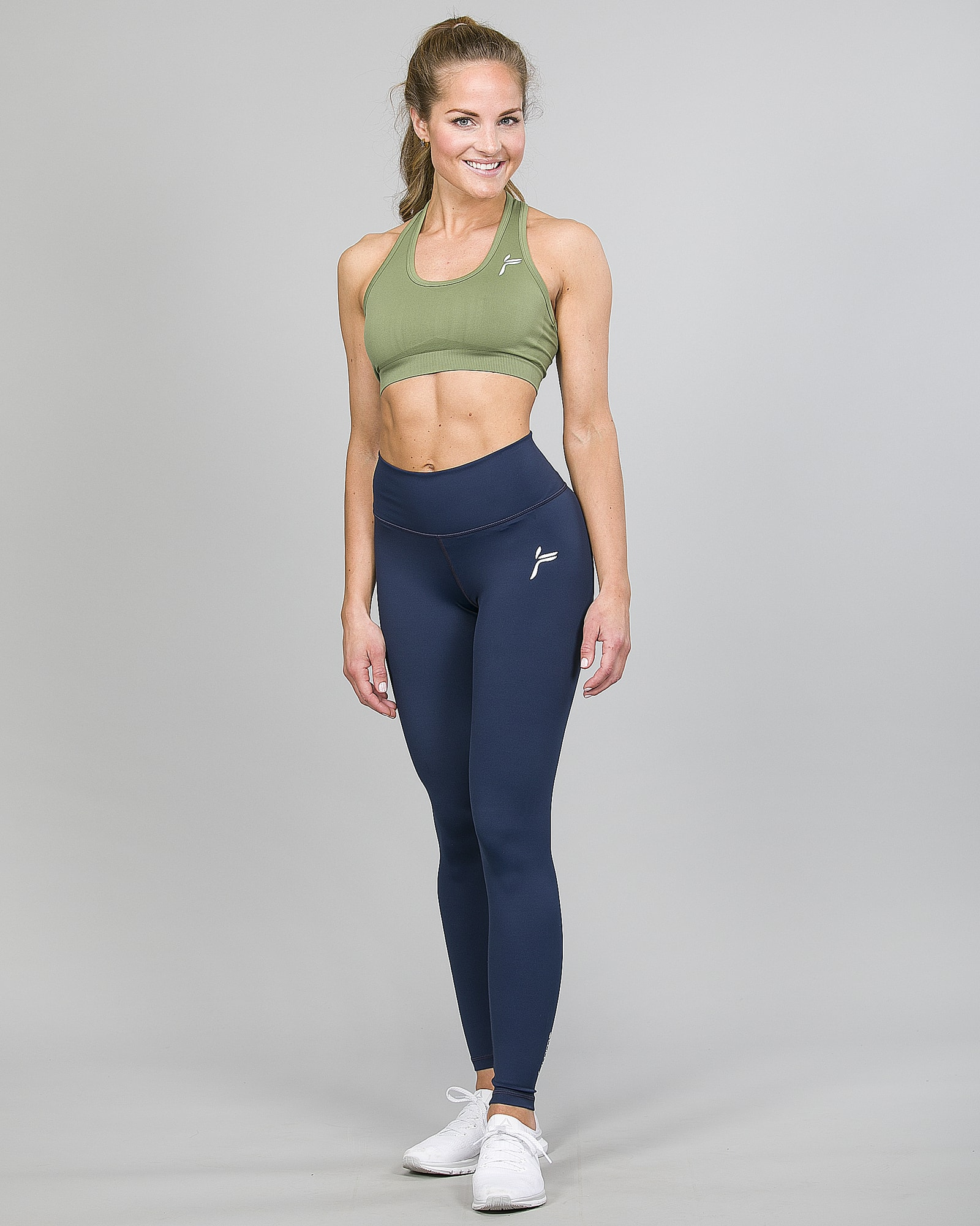 Famme Essential High Waist Legging - Midnight Blue ehwt-mb and Drop It Sports Bra Army Green vhwl-ag d