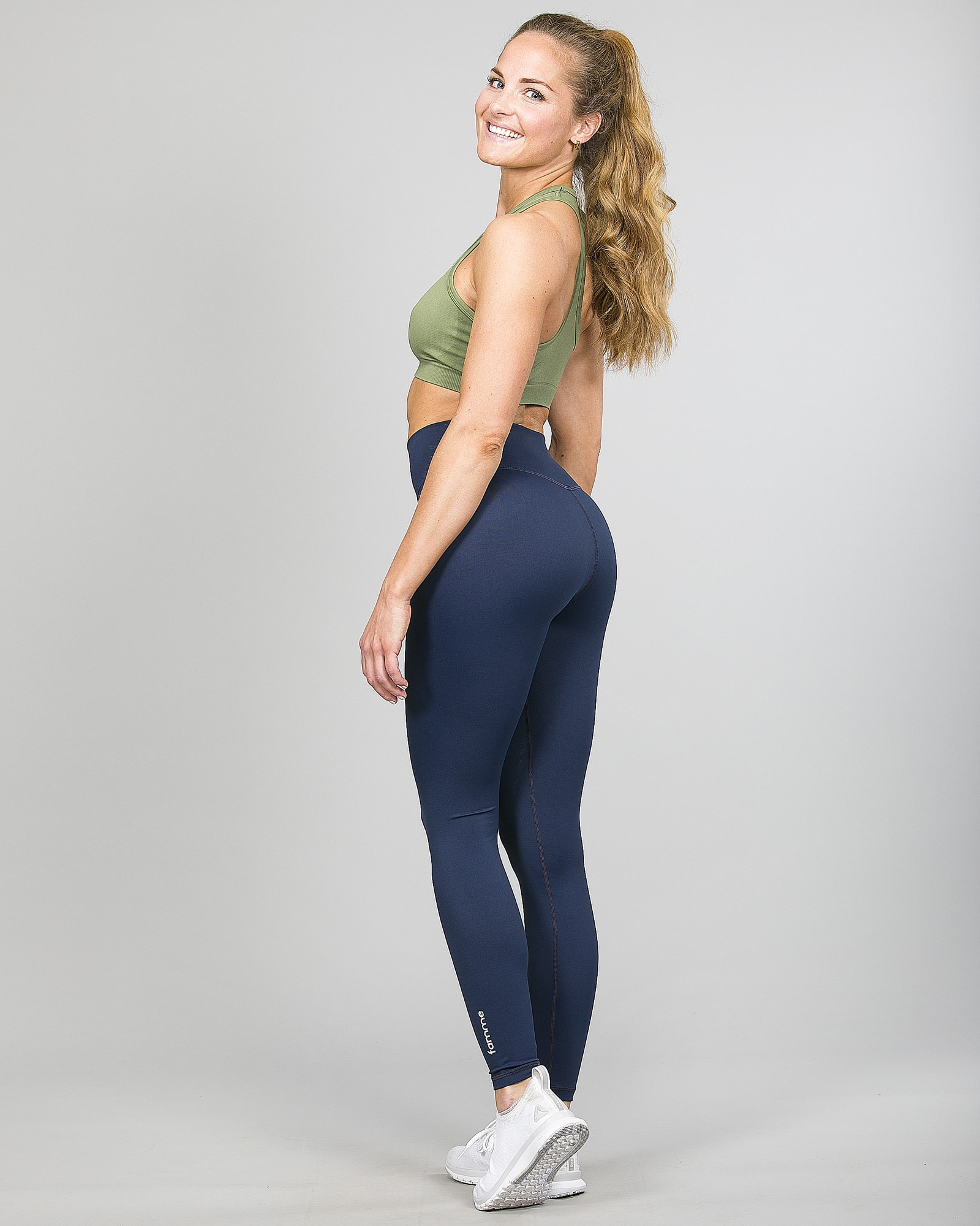 Famme Essential High Waist Legging - Midnight Blue ehwt-mb and Drop It Sports Bra Army Green vhwl-ag f