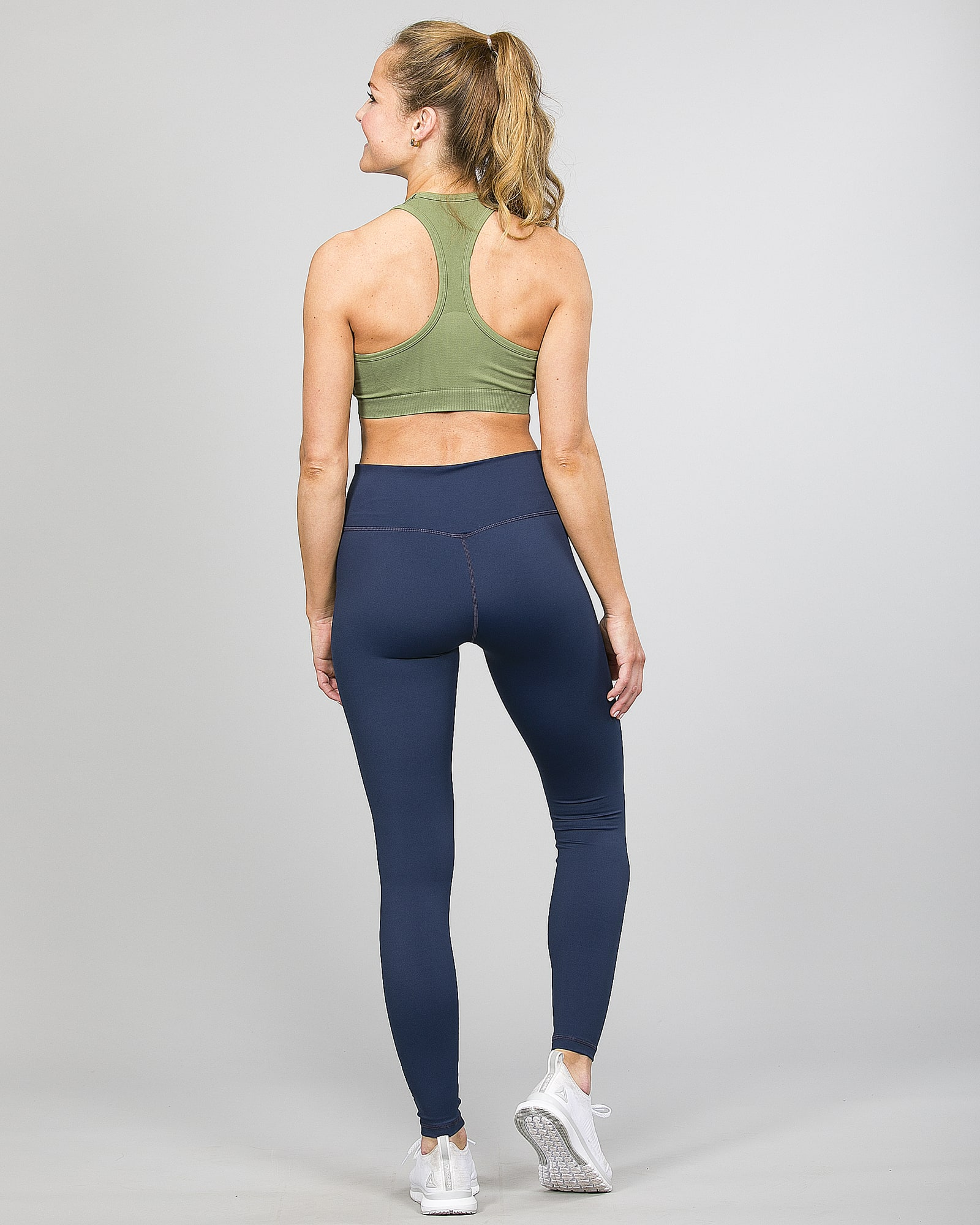 Famme Essential High Waist Legging - Midnight Blue ehwt-mb and Drop It Sports Bra Army Green vhwl-ag g