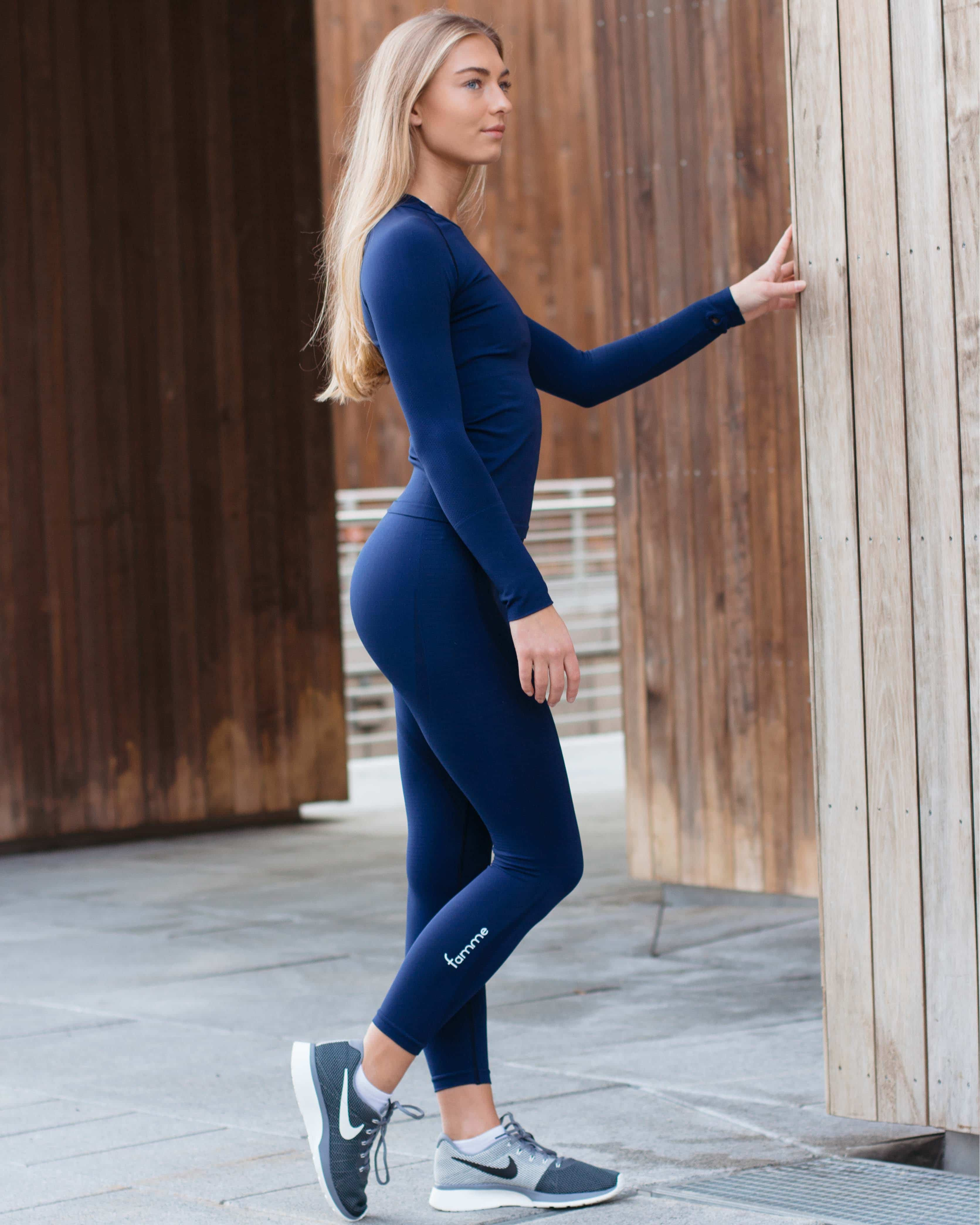 FAMME Vortex Leggings - Navy Blue