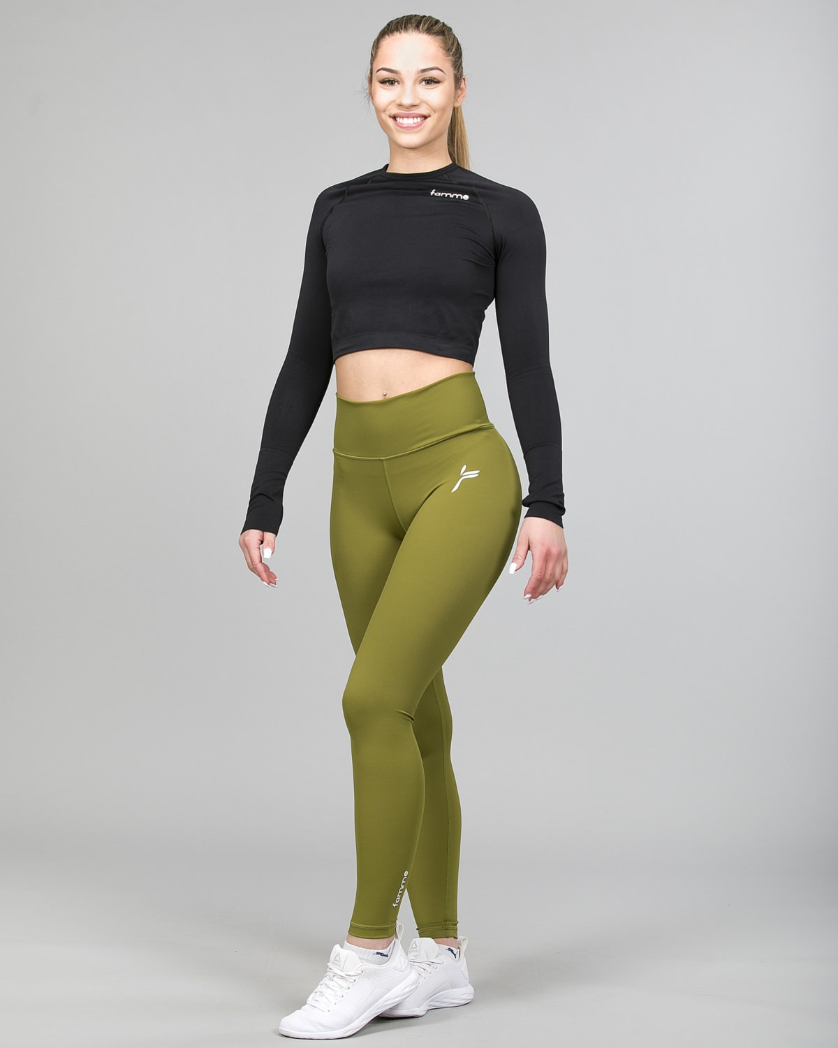 Famme Ocean Crop Top Black ocls-bk and Essential High Waist Leggings Forest Green ehwt-fg