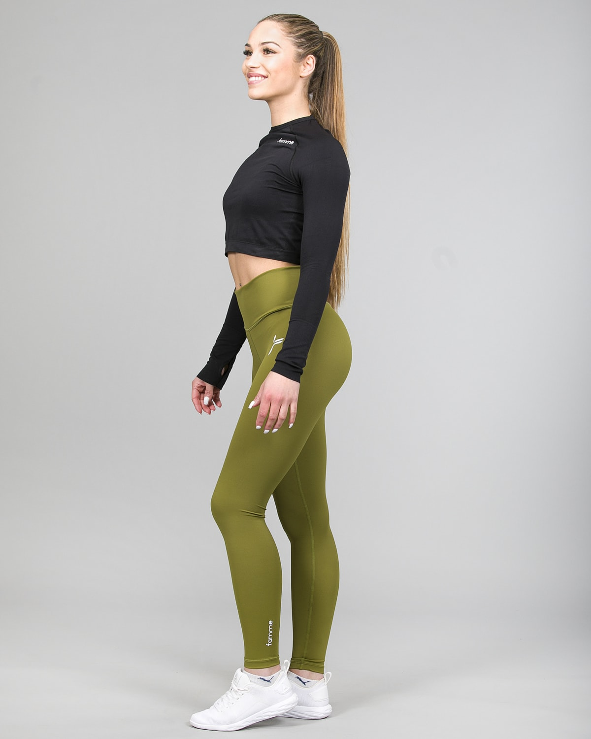 Famme Ocean Crop Top Black ocls-bk and Essential High Waist Leggings Forest Green ehwt-fg b