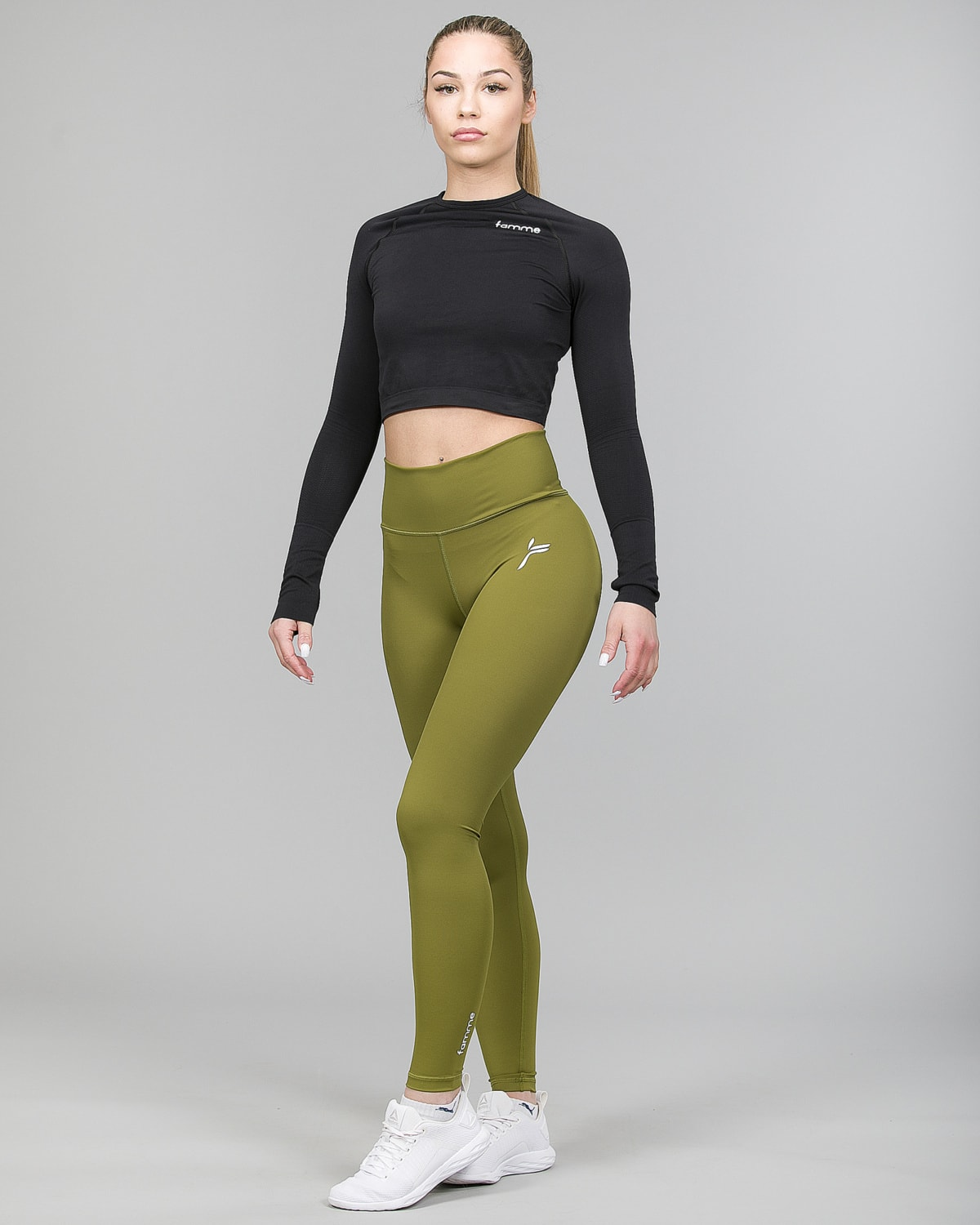 Famme Ocean Crop Top Black ocls-bk and Essential High Waist Leggings Forest Green ehwt-fg h