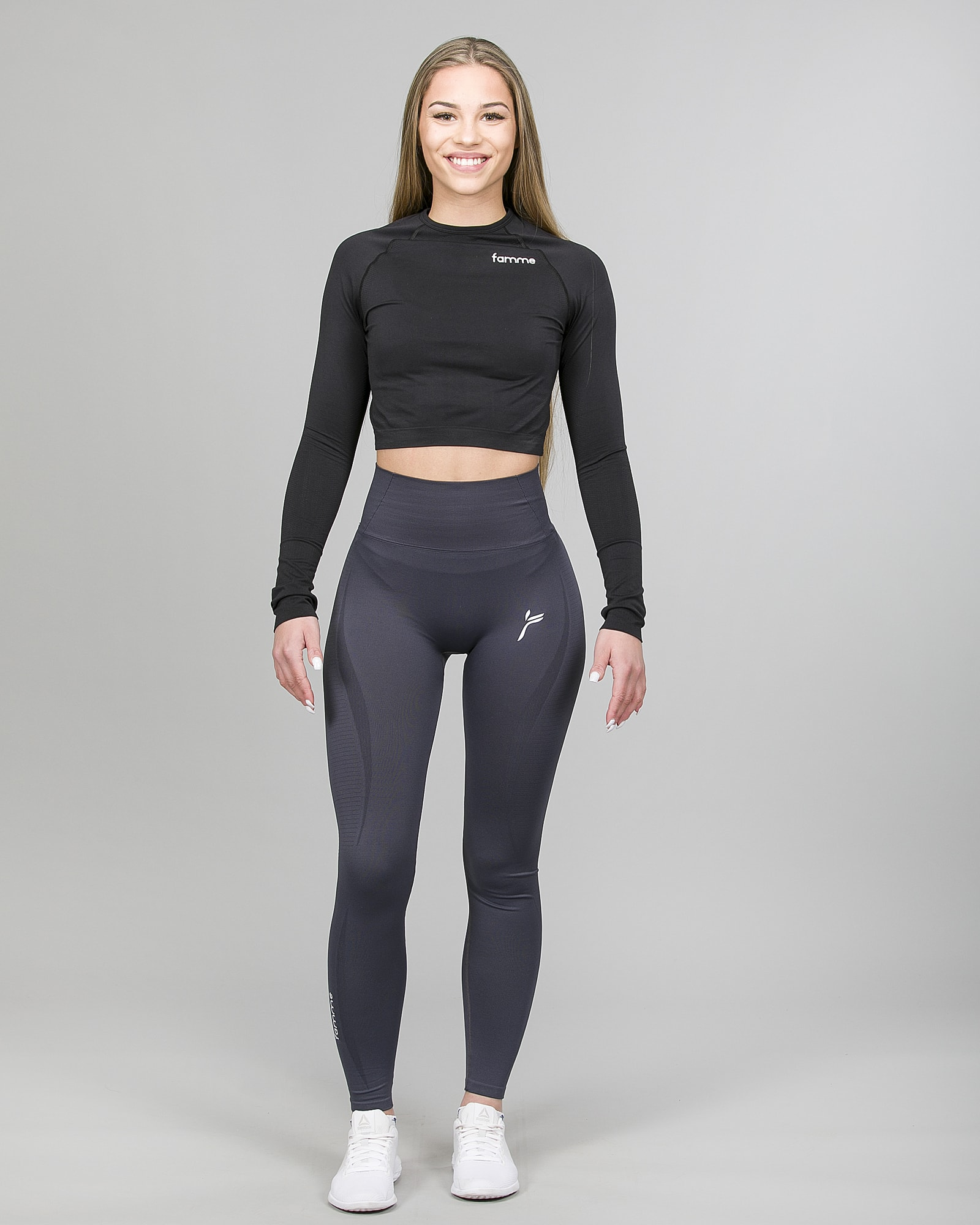 Famme Ocean Crop Top - Black ocls-bk and Vortex Leggings - Dark Grey vgwk.dg f