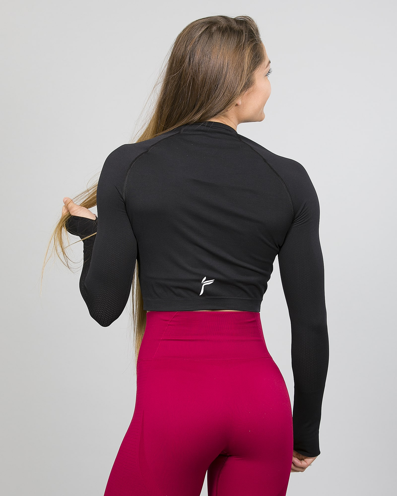 Famme Ocean Crop Top - Black ocls-bk and Vortex Leggings - Dark Red vgwk.dr back
