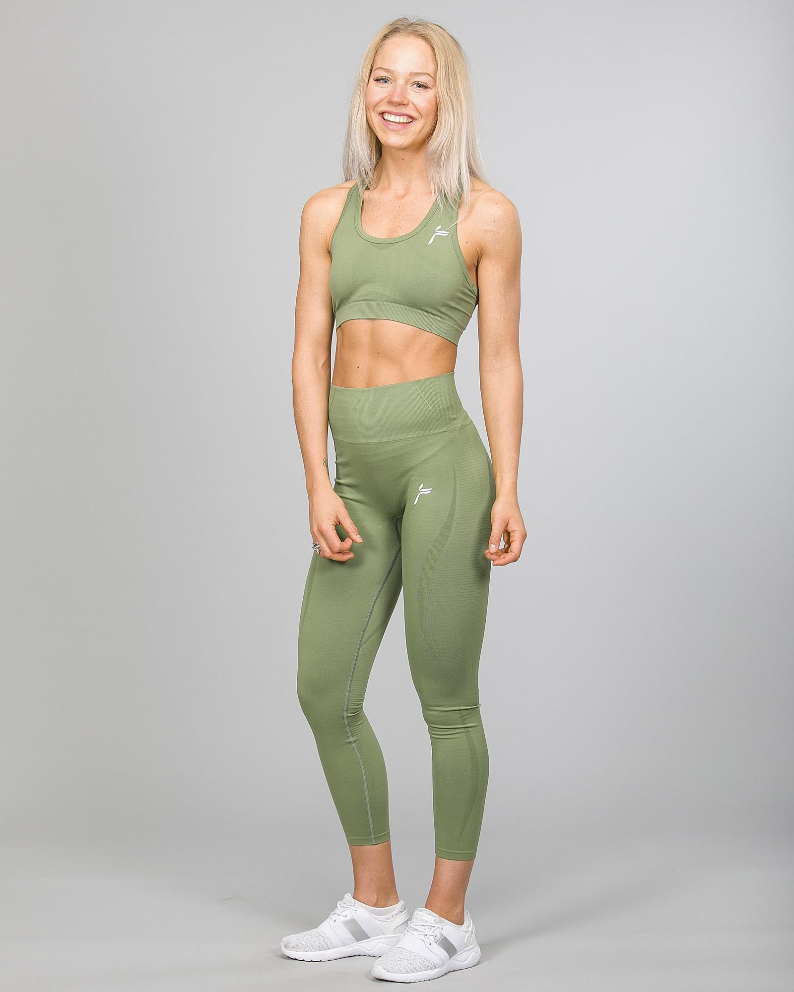 Famme Vortex Legging vhwl-ag and Drop It Sports Bra disb-ag Army Green c