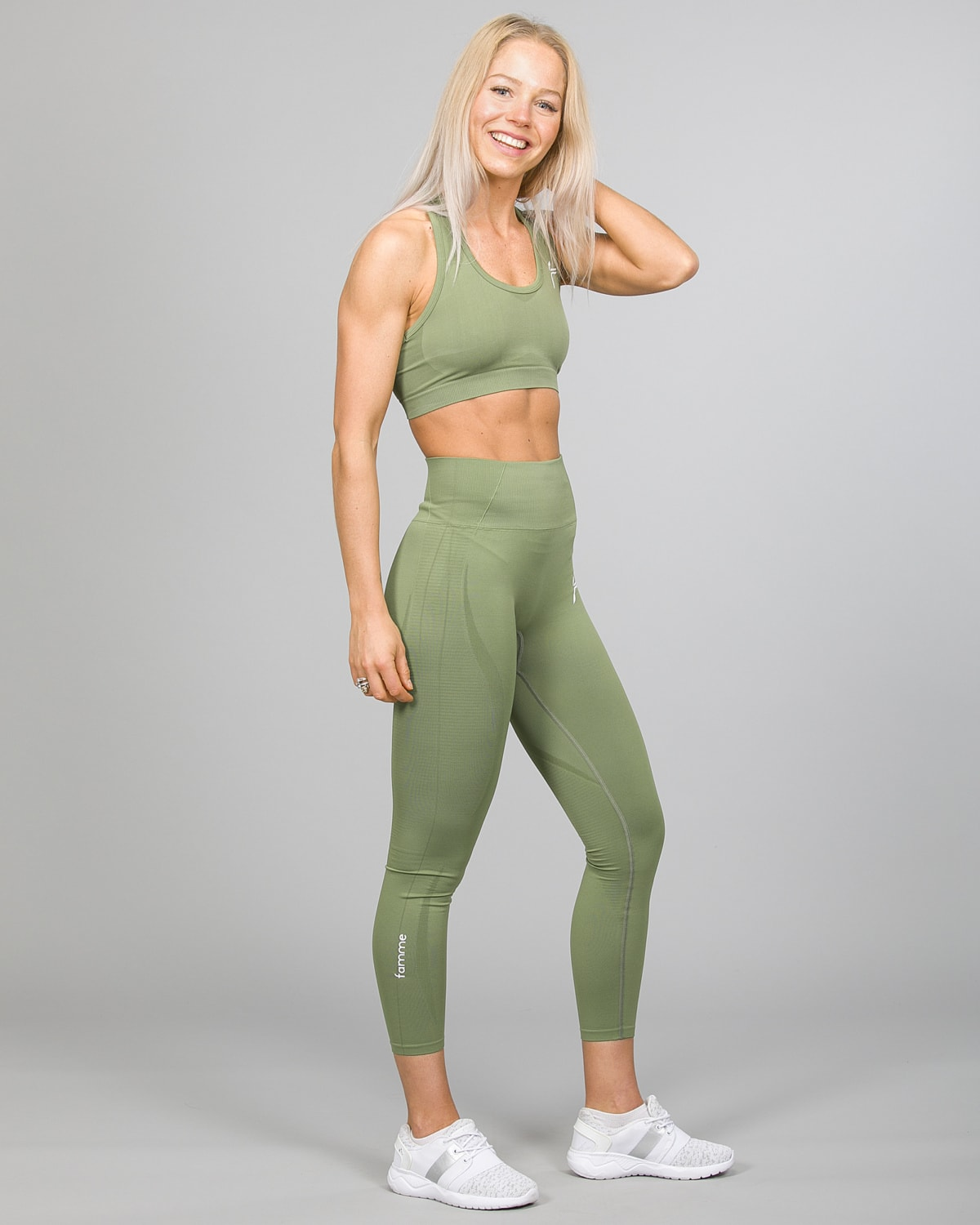 Famme Vortex Legging vhwl-ag and Drop It Sports Bra disb-ag Army Green d