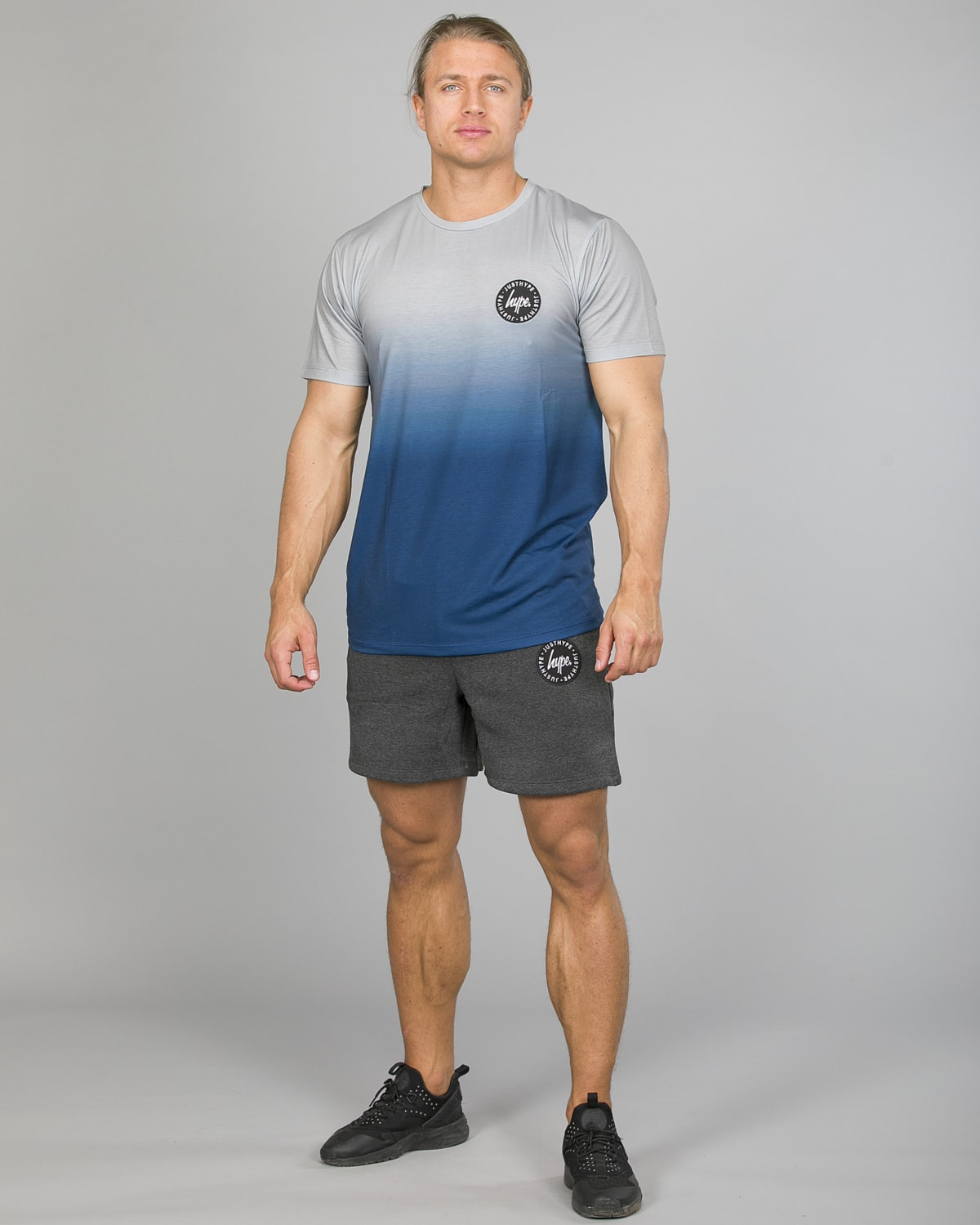 Hype Midnight Fade T-Shirt Men ss18210b Blue:Grey and Badge Shorts Men tm2ndrp16 Charcoal