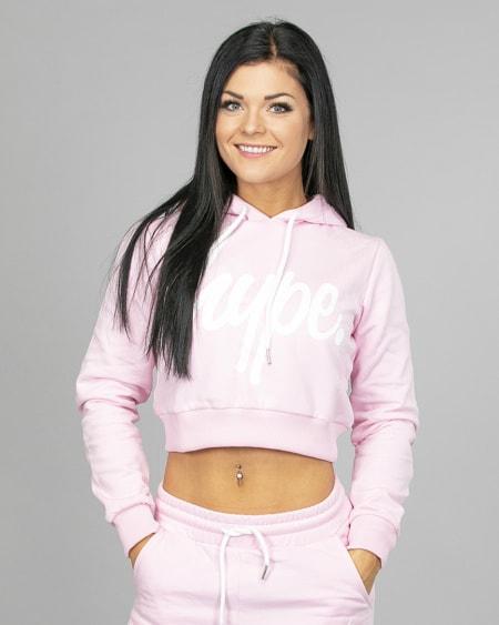 Hype Script Crop Hoodie womch006 Pink