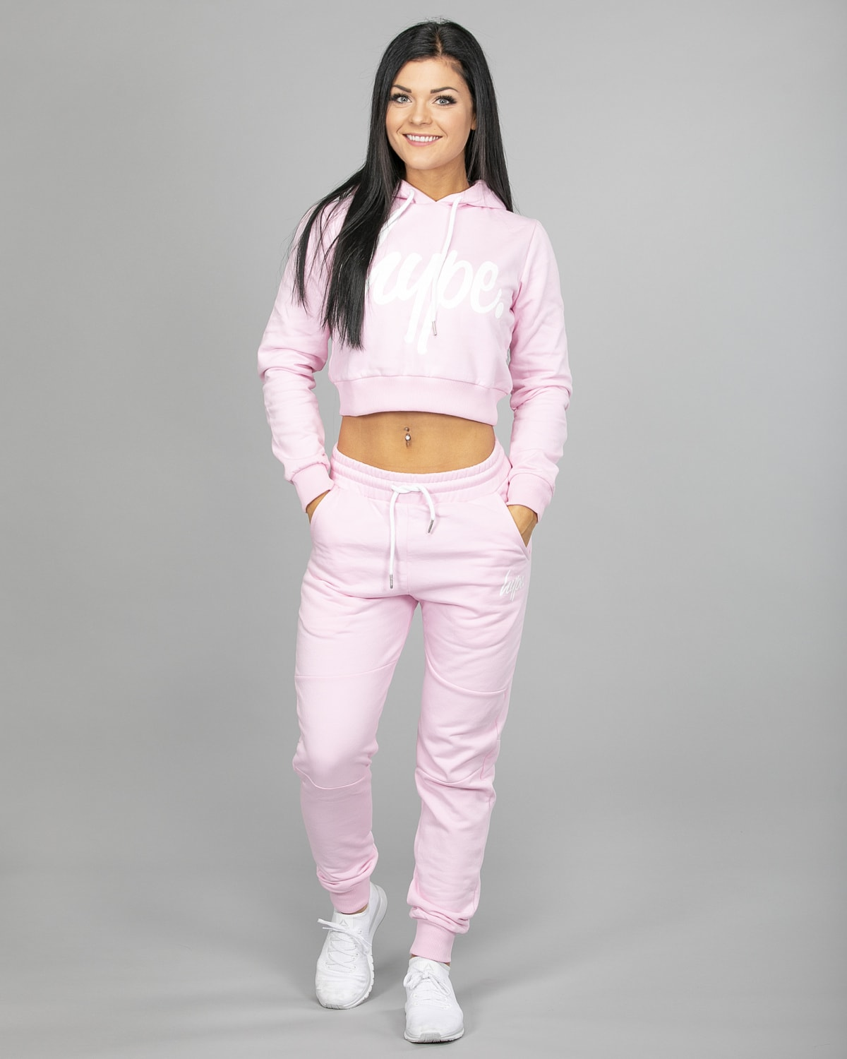 Hype Script Crop Hoodie womch006 and Joggers womj006 Pink