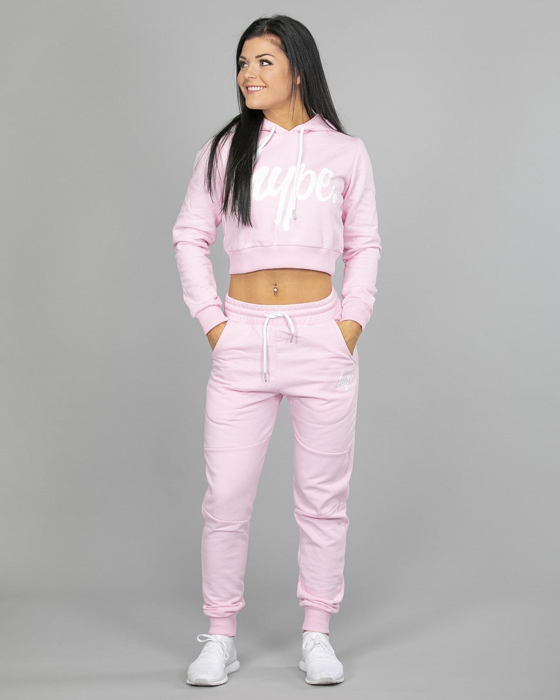 Hype Script Crop Hoodie womch006 and Joggers womj006 Pink b