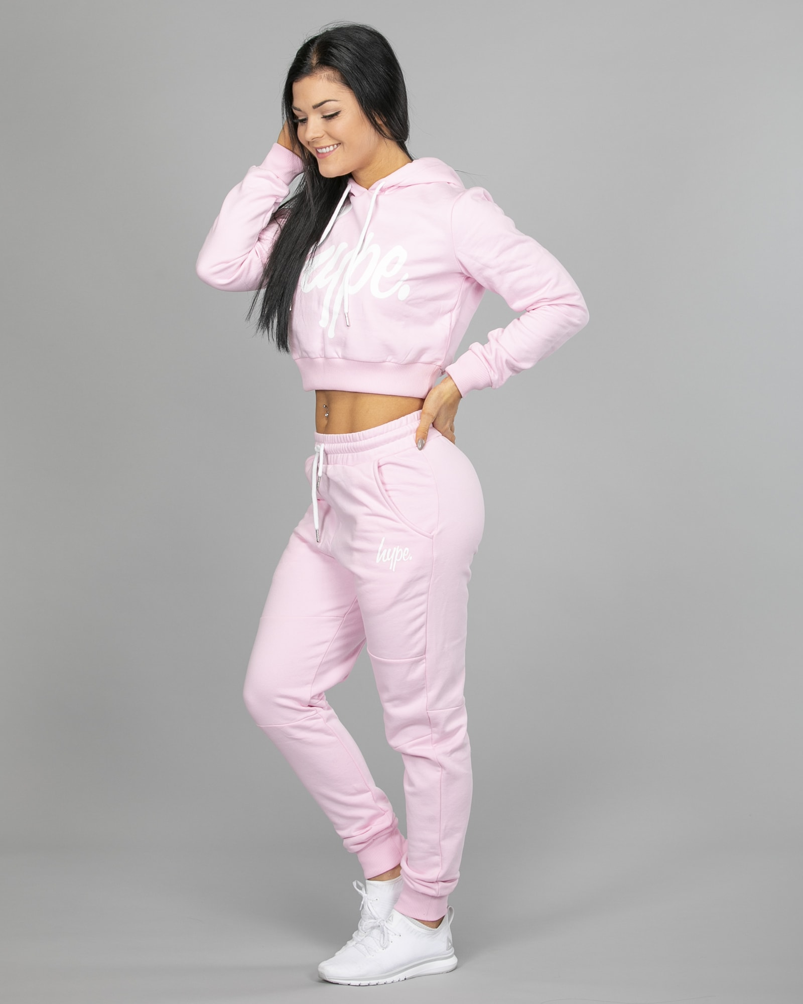 Hype Script Crop Hoodie womch006 and Joggers womj006 Pink c