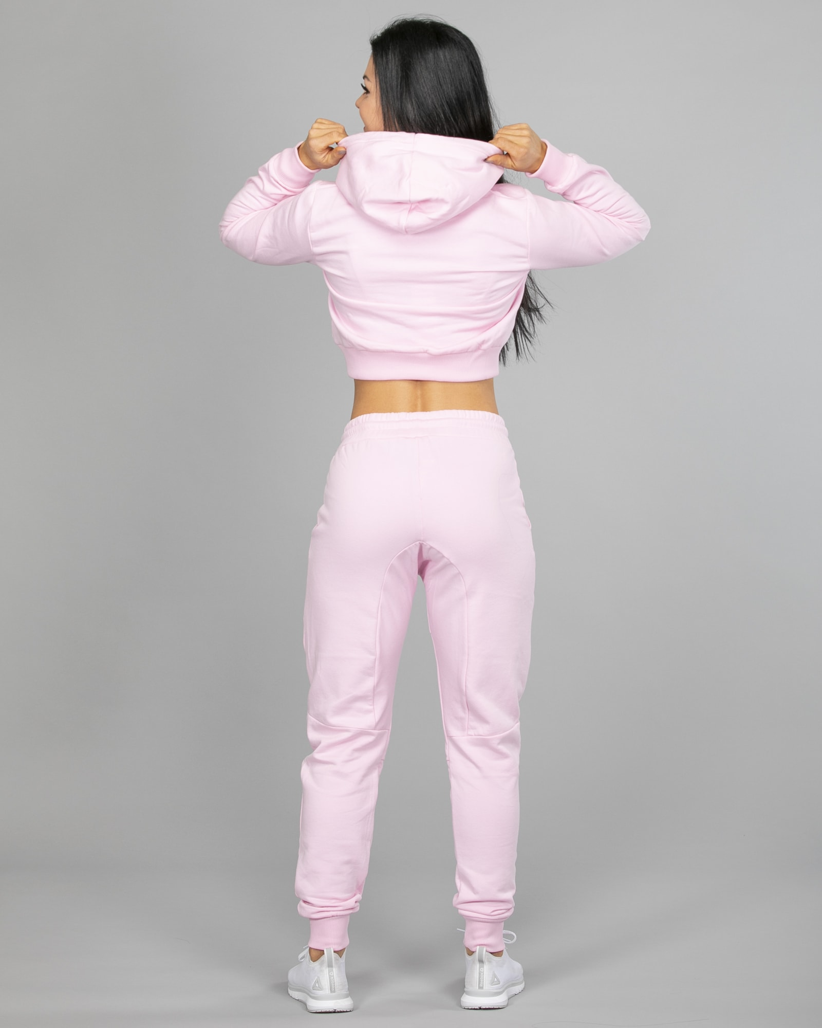 Hype Script Crop Hoodie womch006 and Joggers womj006 Pink d