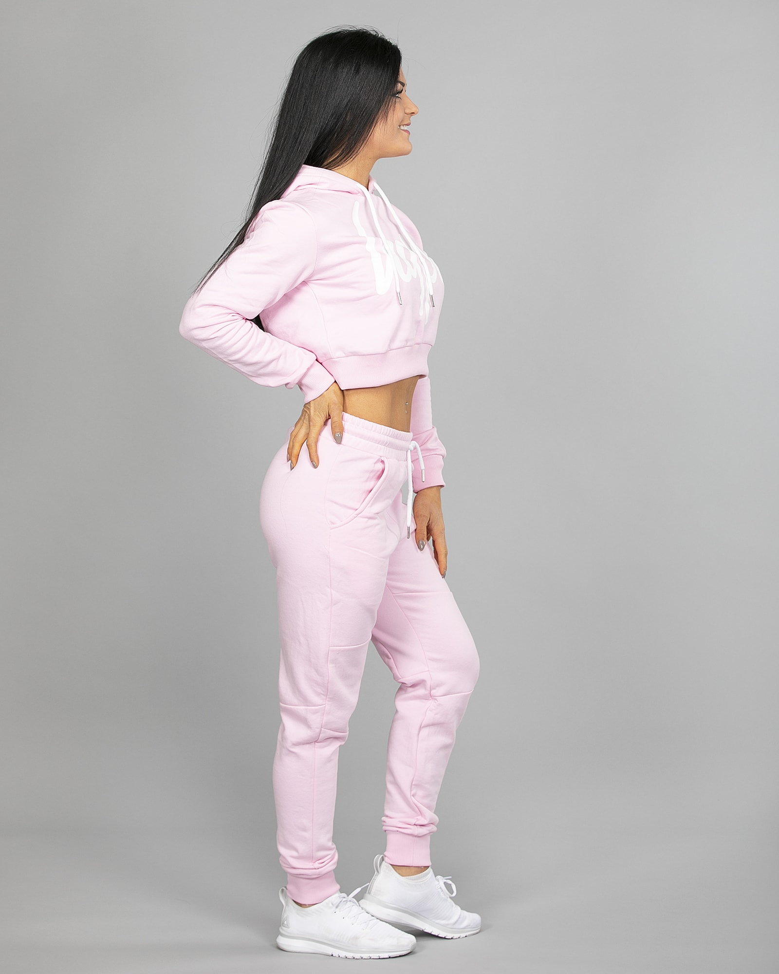 Hype Script Crop Hoodie womch006 and Joggers womj006 Pink e