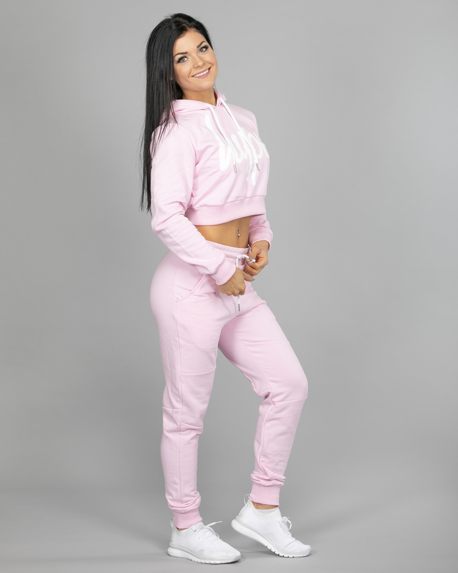 Hype Script Crop Hoodie womch006 and Joggers womj006 Pink f