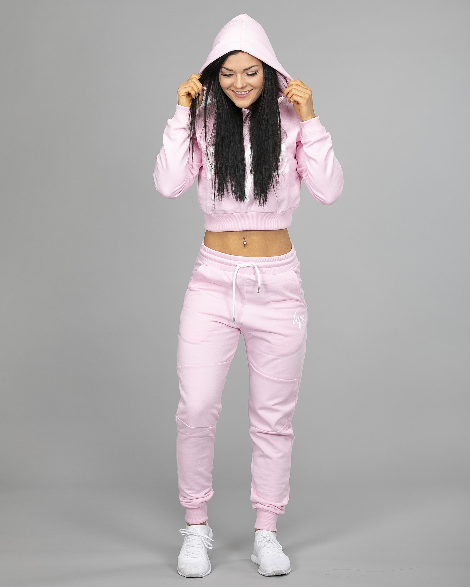 Hype Script Crop Hoodie womch006 and Joggers womj006 Pink g