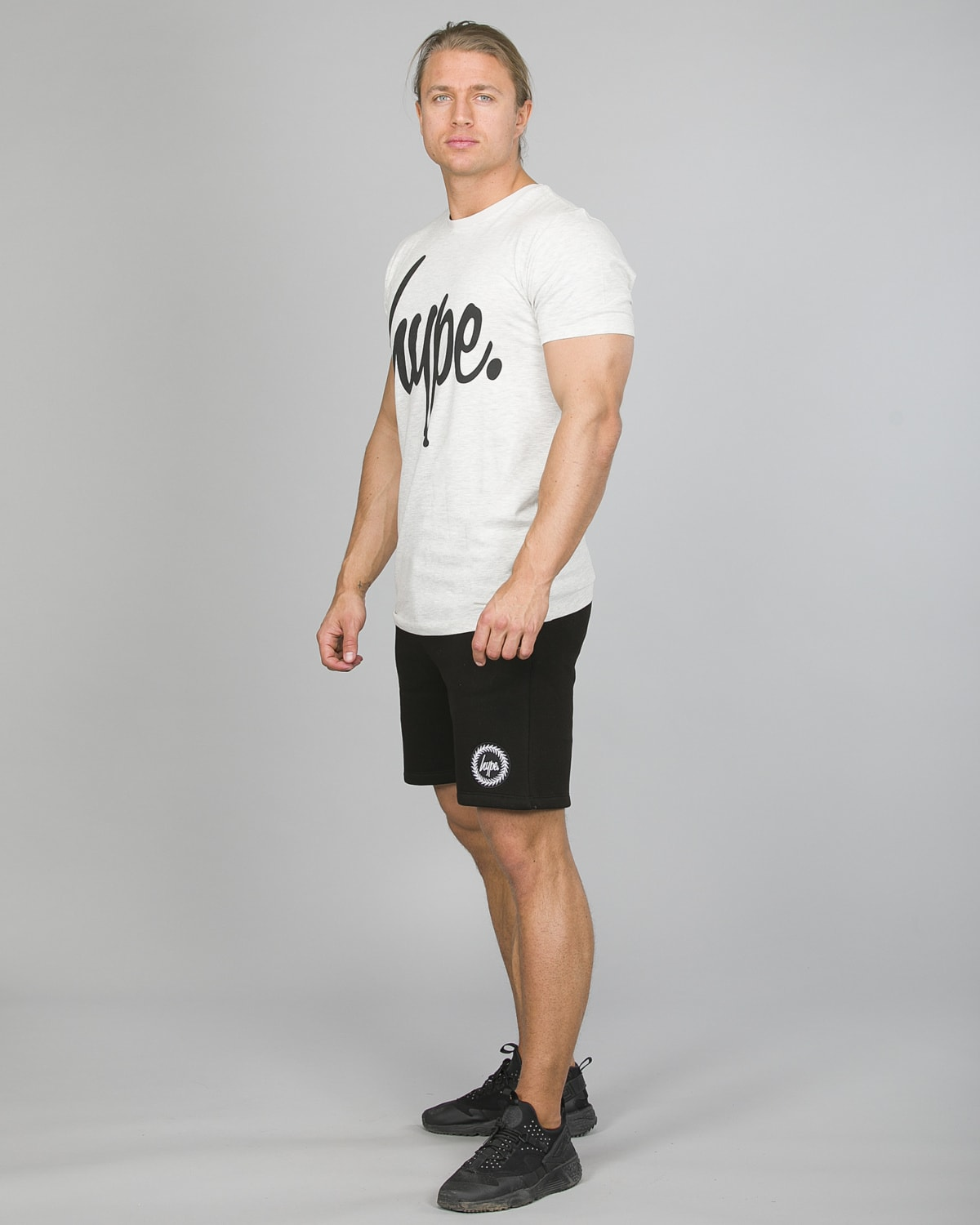 Hype Script T-Shirt Men ss18005 Charcoal and Crest Shorts ss18336b Black b