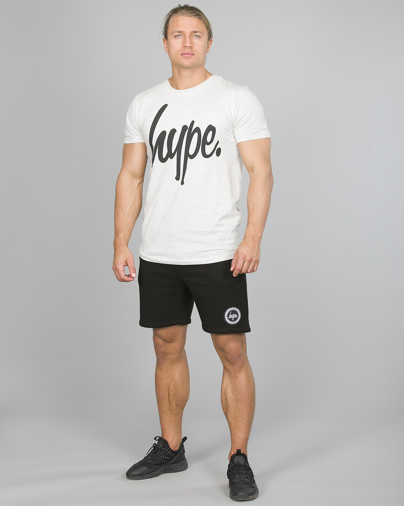 Hype Script T-Shirt Men ss18005 Charcoal and Crest Shorts ss18336b Black