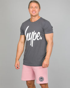 Hype Script T-Shirt Men ss18005 charcoal and Crest Shorts ss18330 Pink