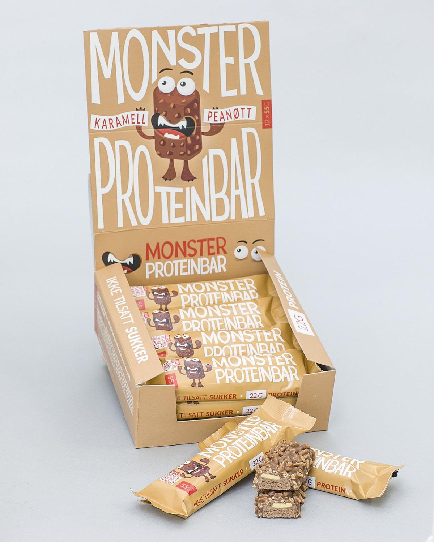 Monster Karamell Peannøtt Proteinbar