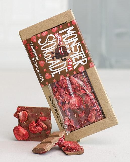 Monster Melkesjokolade med jordebær a