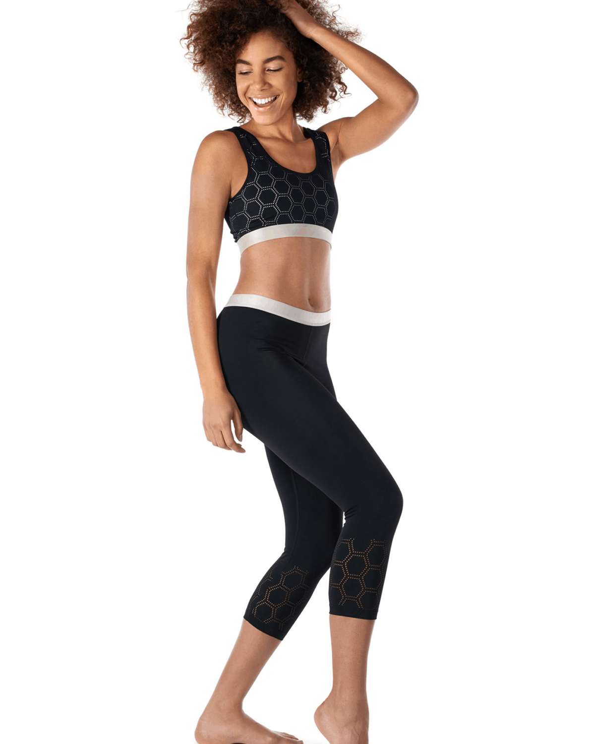 Skiny SK86 Crop Top 083093-7665 and 3:4 Running Tights 083112-7665 Black