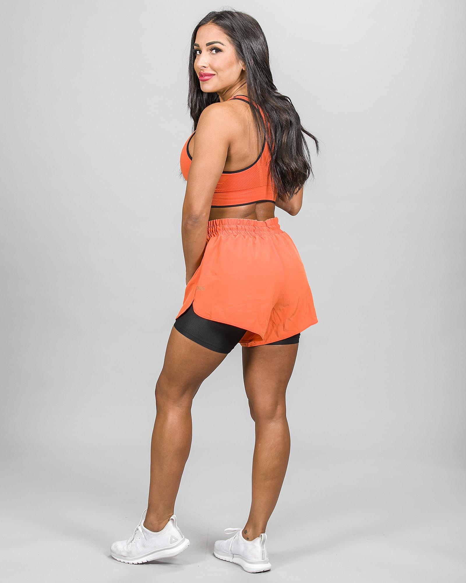 Skiny SK86 Shorts 083111and Crop Top 083094- Blazing Orange c