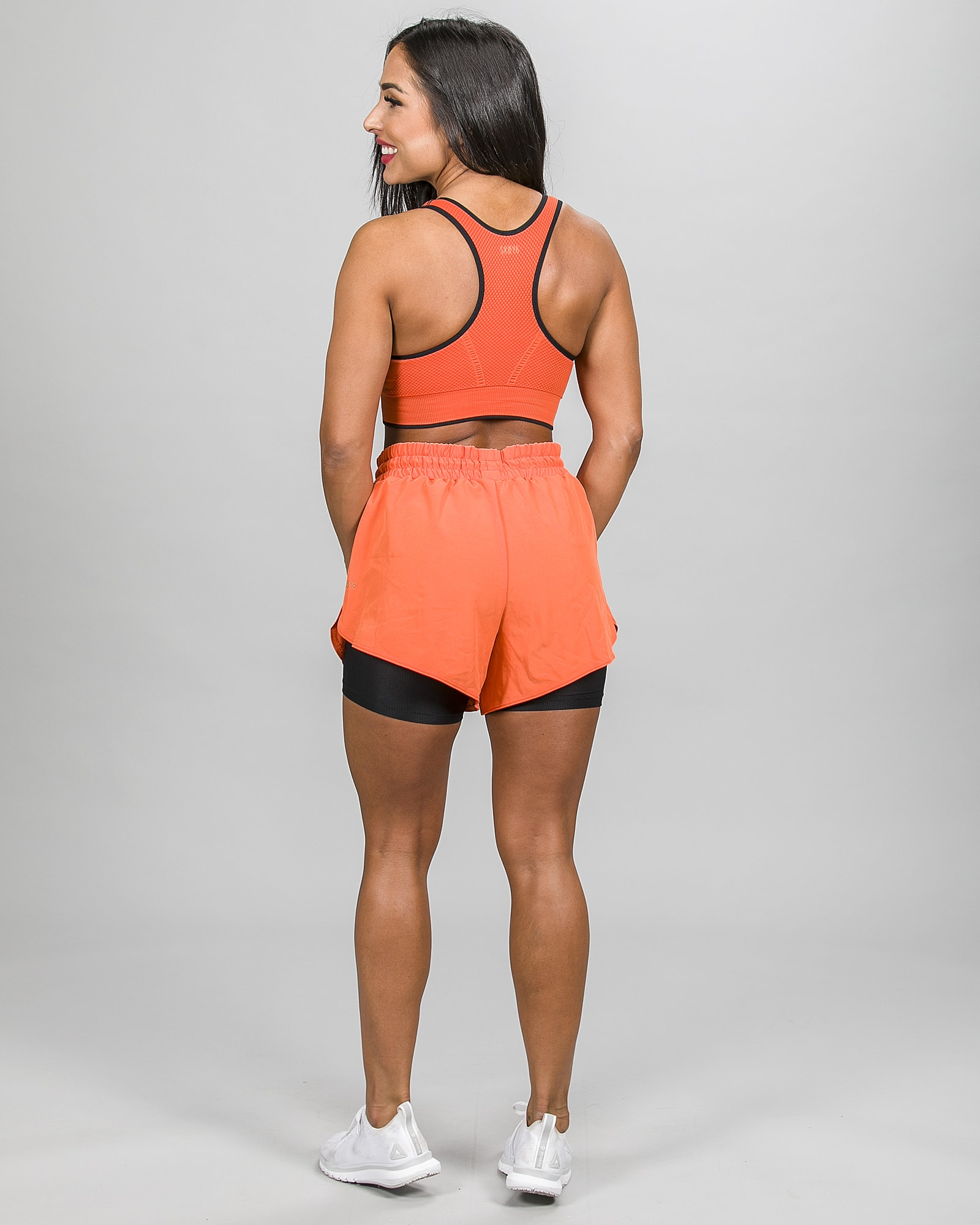 Skiny SK86 Shorts 083111and Crop Top 083094- Blazing Orange f