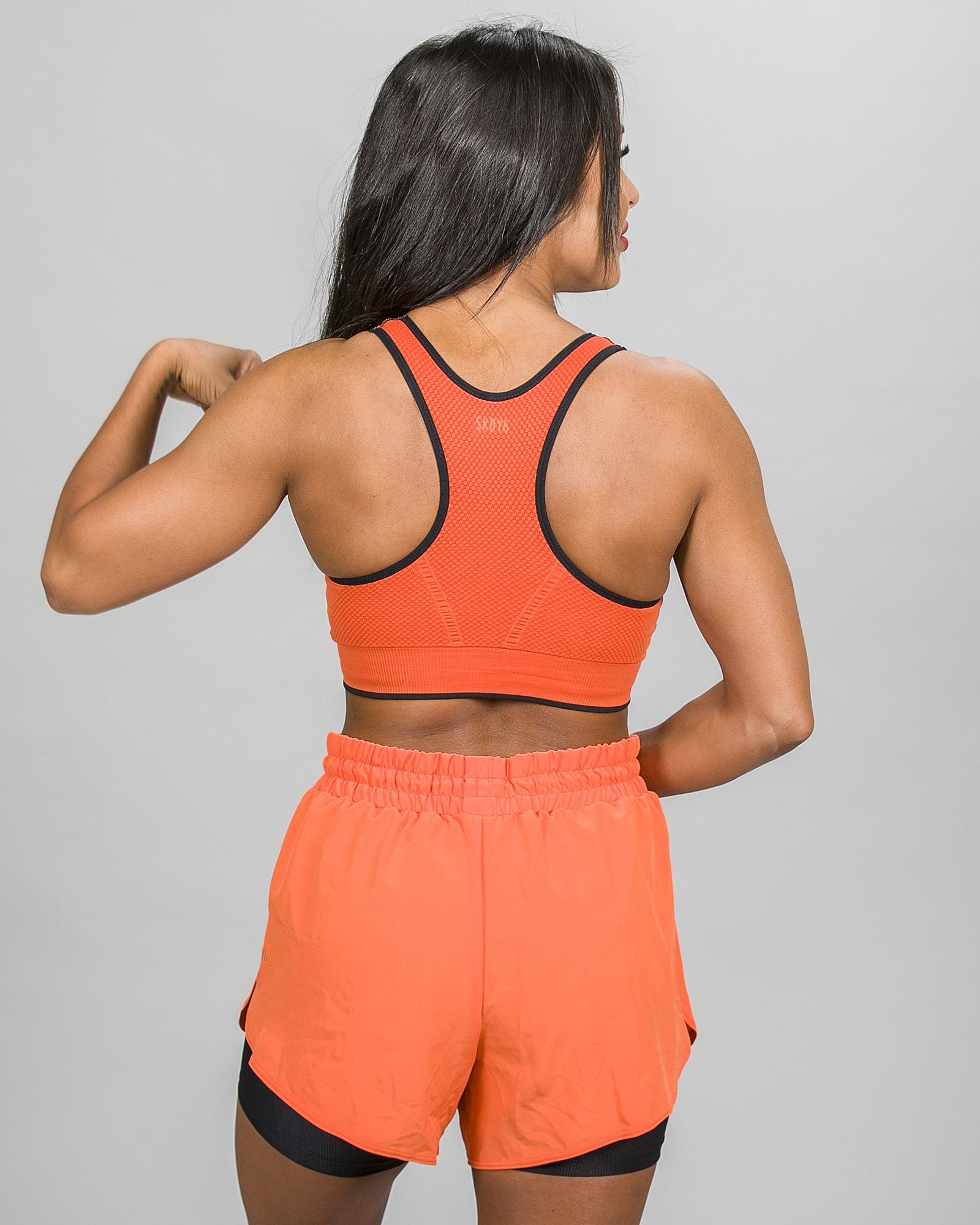Skiny SK86 Shorts 083111and Crop Top 083094- Blazing Orange j