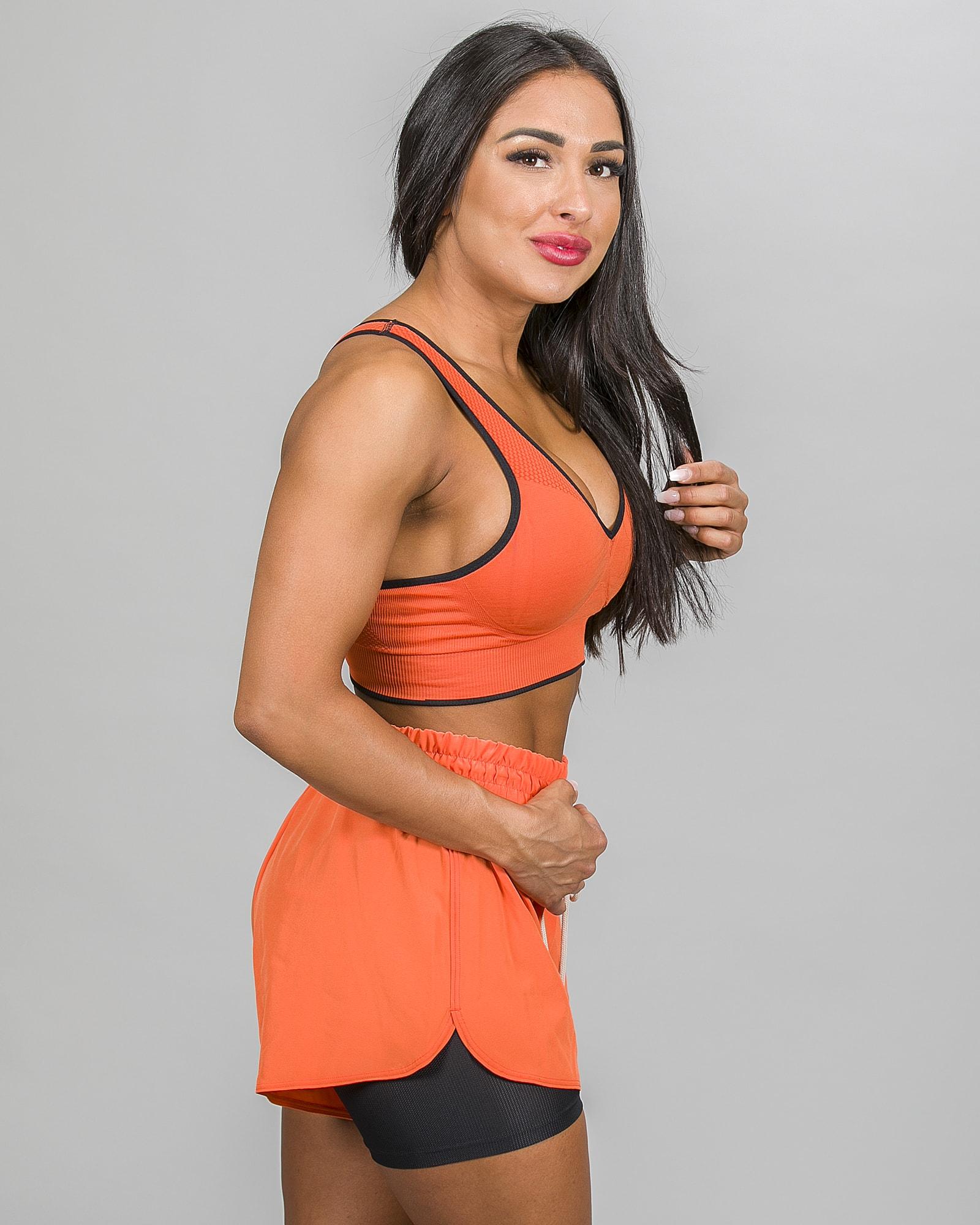 Skiny SK86 Shorts 083111and Crop Top 083094- Blazing Orange k