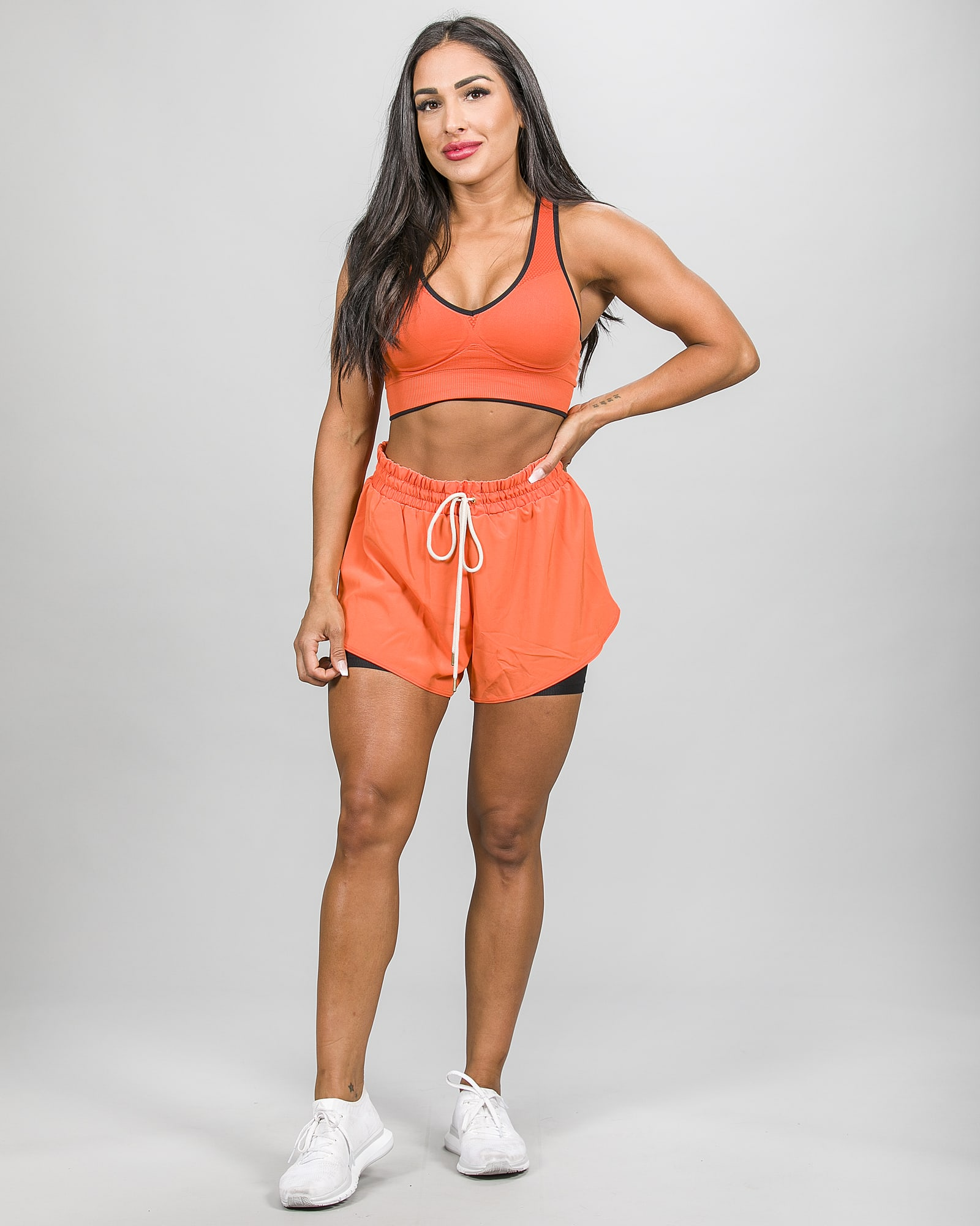 Skiny SK86 Shorts 083111and Crop Top 083094- Blazing Orange